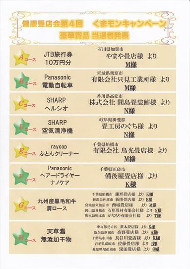 熊本県産の畳おもてくまモンキャンペーン当選者発表