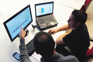 Auswertung von Schwingungsmessdaten am PC zur Diagnose des Anlagenzustands eines Industrie-Antriebs durch Spezialisten der Schwingungsdiagnose