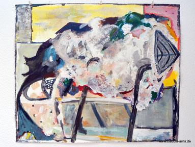 VERWICKELT -  120x100  Acryl, Gesso auf Filzpappe  2016