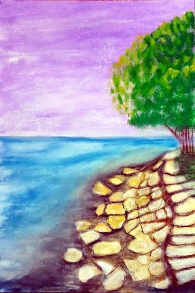 Felsenstrand, Mischtechnik, Meer, Strand, Wellen, Felsen, Weg, Bäume, Landschaftsbild, Mischtechnikmalerei, Gemälde, Seascape, Fine Art Painting