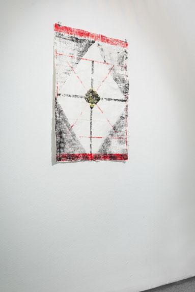 WIDERSTAND / WEISSE ROSE, 2020, Materialdruck, Tusche, Collage, handgeschöpftes Papier, Auflage: 2, Foto © Robert Vanis