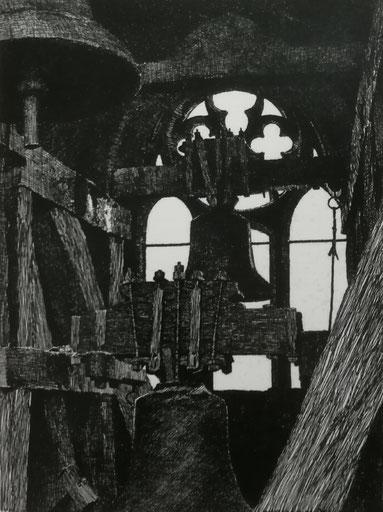Otto Ubbelohde, Glockenstuhl in der Elisabethkirche Marburg (Frontispiz der Hessen-Kunst 1912)