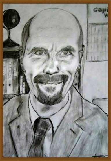 Eine Portrait-Zeichnung der Fernsehfigur Bernd Stromberg. Ein Werk des Künstlers Erol Alp.