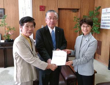 市長に166項目の予算要望書を手渡しました。 京増ふじえ 丸山わき子