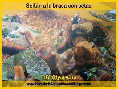 Seitán a la brasa con setas blog del Alquimista Arrecife Lanzarote