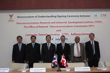 Aalborg大学CTIFと電気通信研究産業開発院(TRIDI)の協力協定覚書署名式