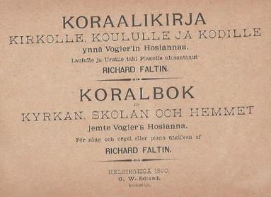 Choralbuch von R. Faltin, Helsingfors 1890