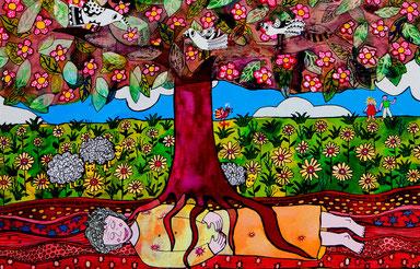 """Dieses Bild malte Irene de Suarez Oberstenfeld, Mexiko. Es ist meinem Gedicht """"waldgeboren"""" aus dem Lyrikband """"Baumwörter blau verschleiert"""" sehr wesensnah."""