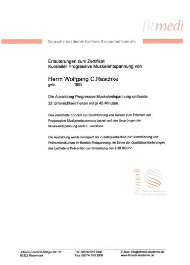 Progressive Muskelentspannung Wolfgang C. Reschke