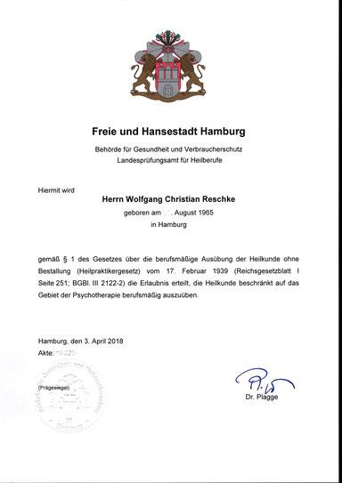 Heilpraktiker für Psychotherapie Wolfgang C. Reschke