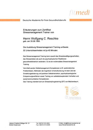 Wolfgang C. Reschke Stressmanagement