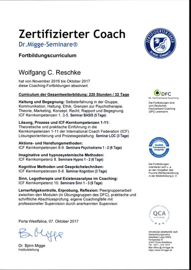 Zertifikat: Coach Wolfgang C. Reschke