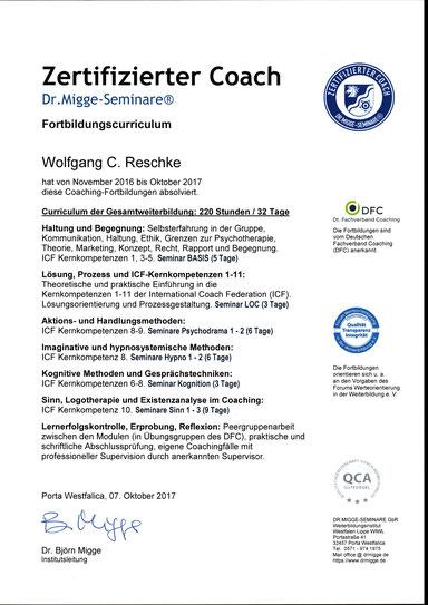 Zertifizierter Coach Wolfgang C. Reschke