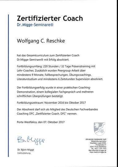 Wolfgang C. Reschke ZERTIFIZIERTER COACH
