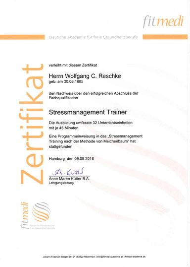 Stressmanagement Trainer Wolfgang C. Reschke