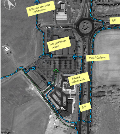 Pedestrian/cycle (blue) and vehicle (green) access to the Bicester Gateway site.