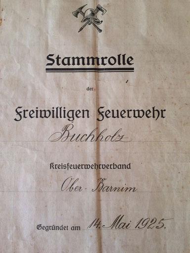 HIER EIN TEIL DER STAMMROLLE AUS DEM JAHR 1925