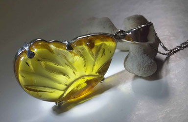 Amber sculpture, carvings, carved, blue amber
