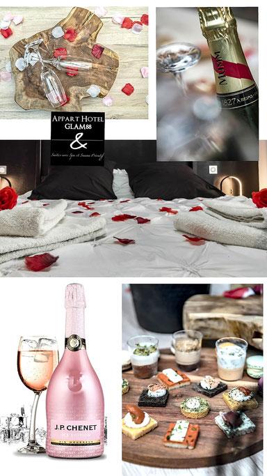 Nuit de luxe vosges - champagne MUMM et macarons