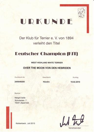 Urkunde zum Deutschen Champion