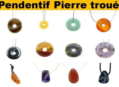 Pendentif pierre troué - Boutique de minéraux - Casa bien-être.fr