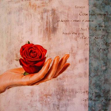 """""""Dillo con un fiore"""" (mista su tela) 80x80 - 2017 COLLEZIONE PRIVATA"""