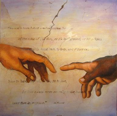 """""""UNTITLED""""(olio su tela) 100x100 - 2017 Ecco i due indici attraverso i quali si trasmette la scintilla vitale del Creatore alla sua creatura. Mi piace immaginare che questo Creatore fosse di pelle scura."""