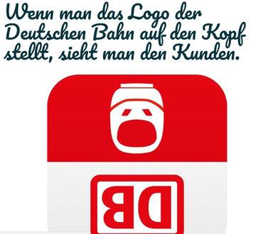 """Das Logo der Deutschen Bahn - """"Wir lieben es lustig"""" hat's einfach mal umgedreht (Grafik: Deutsche Bahn)"""