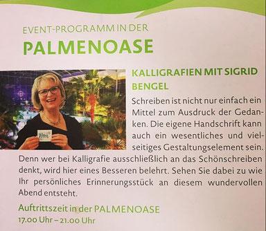 Event Kalligrafie unter Palmen - unschlagbar!
