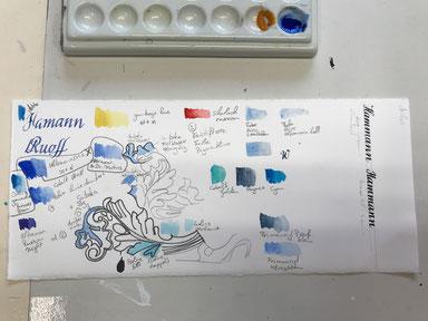 Heraldik: Die Farben werden dafür auf einem Stück Originalpapier getestet