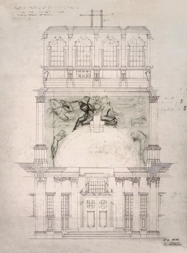 Emile Fabry  Sketch showing the proposed location of the mural at University College, Cardiff