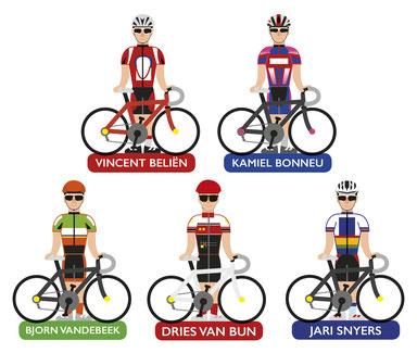 Van Bun Communicatie en Vormgeving - Gepersonaliseerde illustraties wielrenners - Stickers - Sleutelhangers