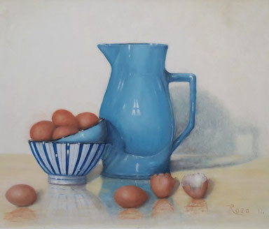 blauwe kan met eieren 45-35cm