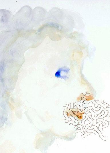 La pipelette, 2019, encre de Chine et aquarelle sur papier, 49 x 64 cm