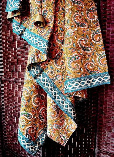 Mustard brown, pinched pleat, Indian cotton throw with green paisley & vine print & teal-blue, silver-gold jari border