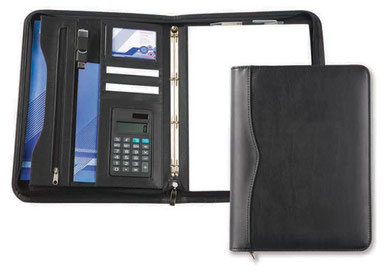 A4 PU Leather look deluxe zipped ring binder with calculator padded and stitched cover