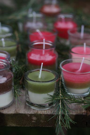 selbstgemachte Kerzen im Glas