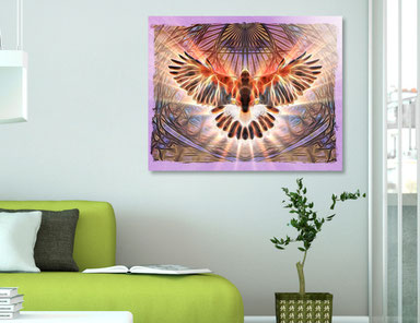 Hawk Rising wall art in situation as an acrylic glass print.