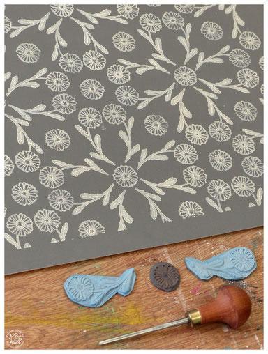 #marguerite #abeille #gravure #linogravure #kitsch #paradise #kp #peinture #artisan #créateur #artisanat #papier #peint