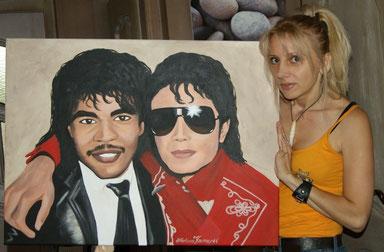 Jonathan Phillip Moffett (Michael Jacksons Schlagzeuger) & Michael Jackson - auf Wunsch von Jonathan von mir gemalt