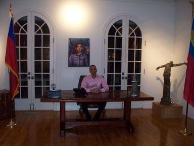 Al Walser, Michaels Freund - hinter ihn ein Bild was ich für Al gemalt habe
