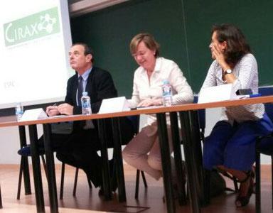 Lluís Jofre, Carme Cascante i Teresa Sancho a l'obertura de la II Jornada CIRAX