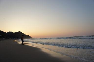 今日のなおえつ海岸。佐渡島もくっきりと見えました