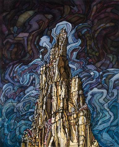 Matt.B, mattb, peinture, acrylique, encre, trident du tacul, chamonix montagne, painting, acrylic, ink, mountain