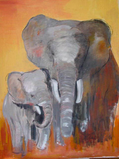 Elefantenmutti mit Kind, Acryl, 80x110cm