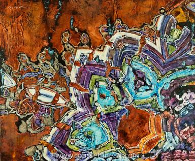 """M77, oil on canvas, huile sur toile 100 x 120 cm (39 x 47"""") - Jean-Pierre Rousset 2017"""