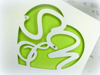 Monogramm Schnitt Karte, Silhouette Unikat