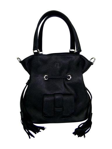 sac seau ou bourse en cuir noir et pompons fabriqué en France par une créatrice
