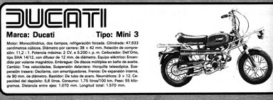 Ficha técnica Ducati Mini 3