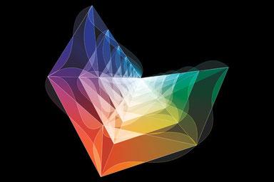 """Rendering artistico dell'""""amplituhedron"""". Illustrazione di Andy Gilmore"""